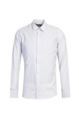 Erkek Giyim - KOYU LACİVERT L Beden Uzun Kol Çizgili Slim Fit Gömlek