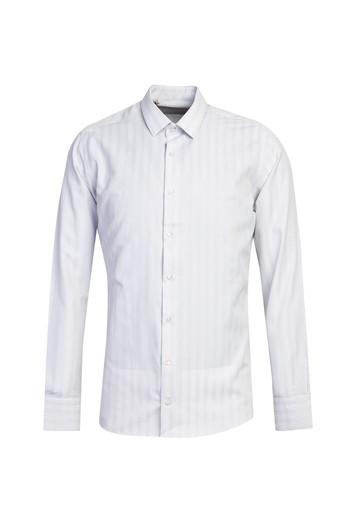 Erkek Giyim - Uzun Kol Çizgili Slim Fit Gömlek