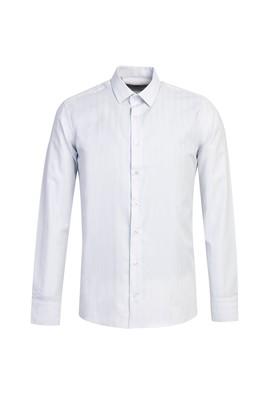 Erkek Giyim - UÇUK MAVİ L Beden Uzun Kol Çizgili Slim Fit Gömlek