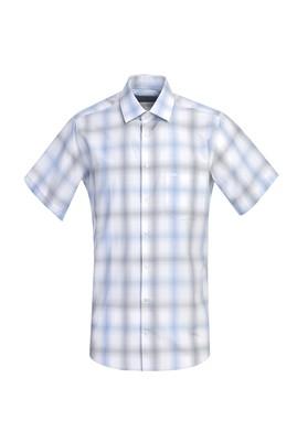 Erkek Giyim - BEYAZ 4X Beden Kısa Kol Regular Fit Ekose Gömlek