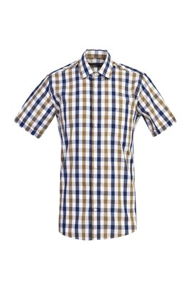 Erkek Giyim - ORTA LACİVERT L Beden Kısa Kol Regular Fit Ekose Gömlek