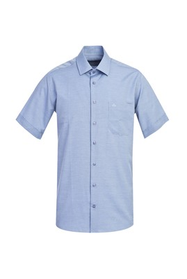 Erkek Giyim - MAVİ 3X Beden Kısa Kol Regular Fit Desenli Gömlek