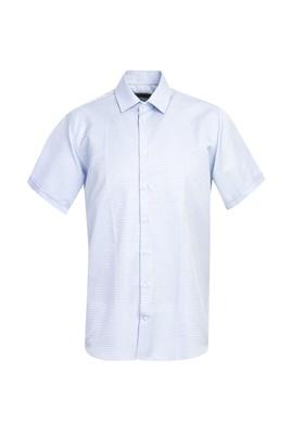 Erkek Giyim - AÇIK MAVİ S Beden Kısa Kol Regular Fit Desenli Gömlek