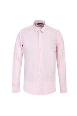 Erkek Giyim - ORTA PEMBE L Beden Uzun Kol Slim Fit Desenli Gömlek