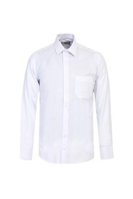 Erkek Giyim - BEYAZ L Beden Uzun Kol Klasik Desenli Gömlek