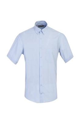 Erkek Giyim - GÖK MAVİSİ L Beden Kısa Kol Klasik Ekose Gömlek