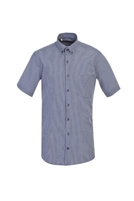 Erkek Giyim - ORTA LACİVERT L Beden Kısa Kol Klasik Ekose Gömlek