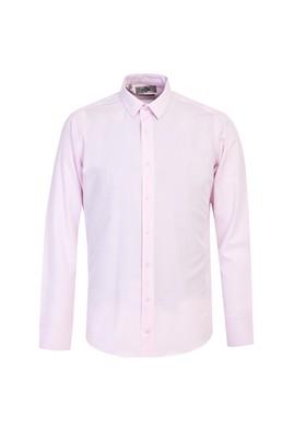 Erkek Giyim - PEMBE S Beden Uzun Kol Slim Fit Desenli Gömlek