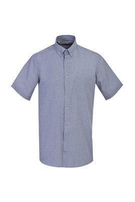 Erkek Giyim - ORTA LACİVERT XL Beden Kısa Kol Klasik Desenli Gömlek