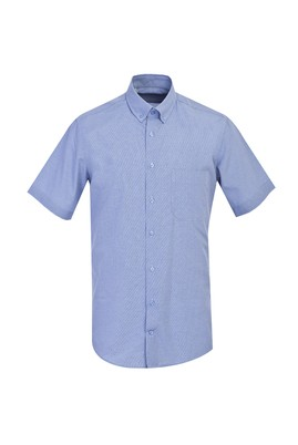 Erkek Giyim - AÇIK MAVİ XXL Beden Kısa Kol Klasik Desenli Gömlek