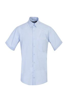 Erkek Giyim - GÖK MAVİSİ L Beden Kısa Kol Klasik Desenli Gömlek