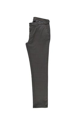 Erkek Giyim - ORTA FÜME 52 Beden Klasik Ekose Pantolon