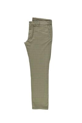 Erkek Giyim - ORTA BEJ 56 Beden Klasik Ekose Pantolon