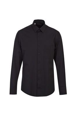 Erkek Giyim - SİYAH M Beden Uzun Kol Relax Fit Desenli Gömlek