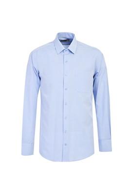 Erkek Giyim - GÖK MAVİSİ XL Beden Uzun Kol Relax Fit Desenli Gömlek