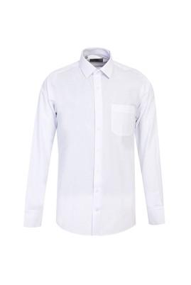Erkek Giyim - BEYAZ L Beden Uzun Kol Relax Fit Desenli Gömlek