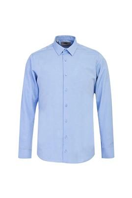 Erkek Giyim - GÖK MAVİSİ M Beden Uzun Kol Slim Fit Desenli Gömlek