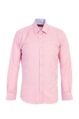 Erkek Giyim - AÇIK KIRMIZI L Beden Uzun Kol Desenli Slim Fit Gömlek