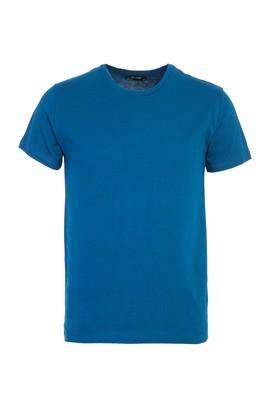 Erkek Giyim - ORTA PETROL L Beden Bisiklet Yaka Slim Fit Tişört