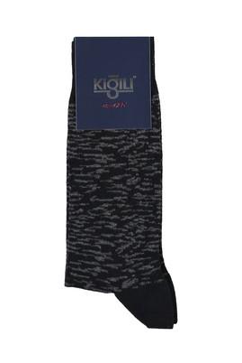 Erkek Giyim - SİYAH 40 Beden Desenli Çorap