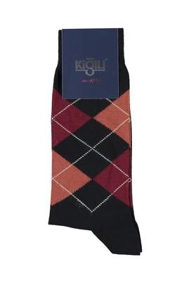Erkek Giyim - KOYU SİYAH 40 Beden Desenli Çorap