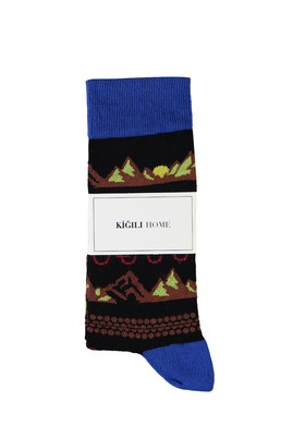 Erkek Giyim - SİYAH 40-44 Beden Desenli Soket Çorap