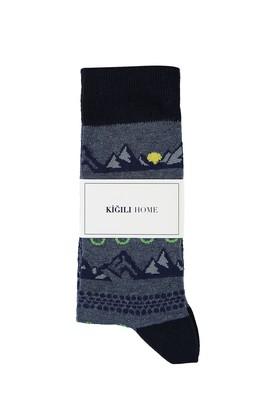 Erkek Giyim - ORTA LACİVERT 40-44 Beden Desenli Soket Çorap
