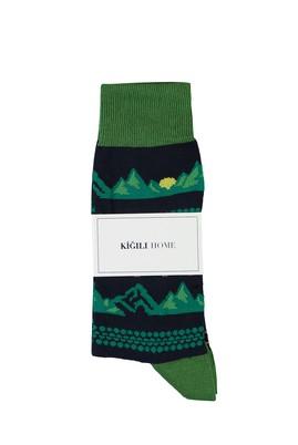 Erkek Giyim - AÇIK MAVİ 40-44 Beden Desenli Soket Çorap
