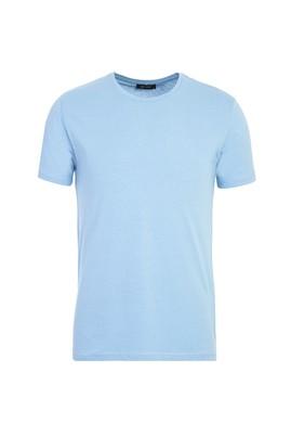 Erkek Giyim - AÇIK MAVİ M Beden Bisiklet Yaka Slim Fit Tişört