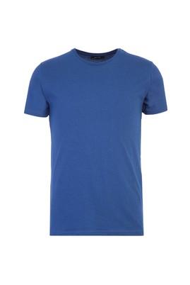 Erkek Giyim - ÇİVİT MAVİSİ XXL Beden Bisiklet Yaka Slim Fit Tişört