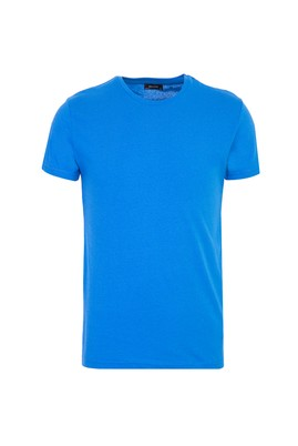 Erkek Giyim - SAKS MAVİ XXL Beden Bisiklet Yaka Slim Fit Tişört