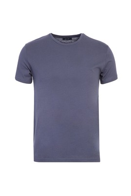 Erkek Giyim - KOYU ANTRASİT L Beden Bisiklet Yaka Slim Fit Tişört