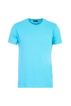 Erkek Giyim - AÇIK TURKUAZ L Beden Bisiklet Yaka Slim Fit Tişört
