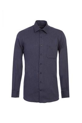 Erkek Giyim - KOYU LACİVERT L Beden Uzun Kol Desenli Flanel Gömlek