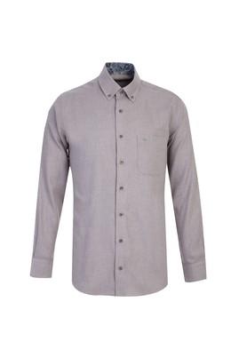 Erkek Giyim - AÇIK ANTRASİT 3X Beden Uzun Kol Klasik Gömlek