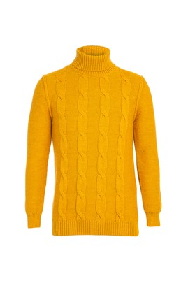 Erkek Giyim - SAFRAN L Beden BalıkçıYaka Slim Fit Triko Kazak