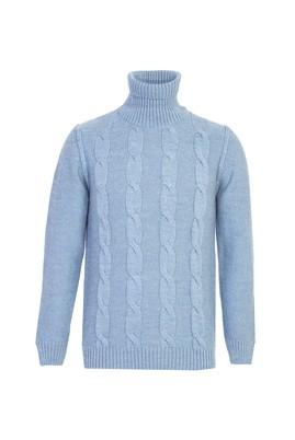 Erkek Giyim - GÖK MAVİSİ L Beden Balıkçı Yaka Yünlü Slim Fit Triko Kazak