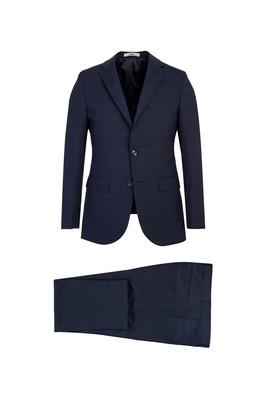 Erkek Giyim - SİYAH LACİVERT 46 Beden Slim Fit Desenli Yünlü Takım Elbise