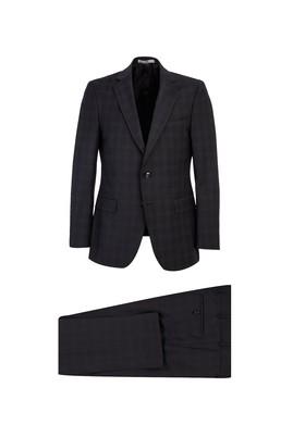 Erkek Giyim - SİYAH 58 Beden Regular Fit Yünlü Ekose Takım Elbise