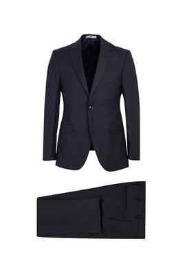 Erkek Giyim - SİYAH LACİVERT 48 Beden Slim Fit Yünlü Desenli Takım Elbise