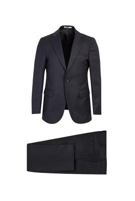 Erkek Giyim - KOYU FÜME 50 Beden Klasik Yünlü Kuşgözü Takım Elbise