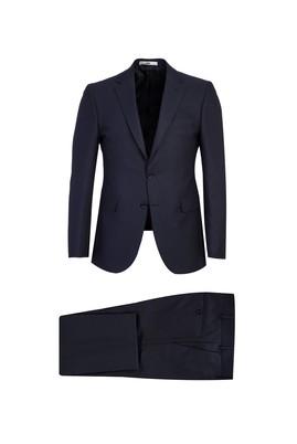 Erkek Giyim - KOYU LACİVERT 46 Beden Slim Fit Kuşgözü Takım Elbise
