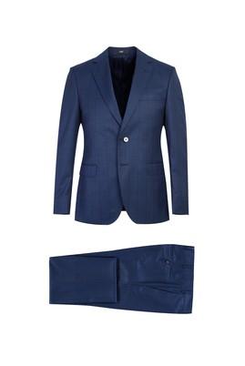 Erkek Giyim - KOYU MAVİ 52 Beden Slim Fit Ekose Takım Elbise