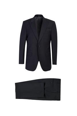 Erkek Giyim - ANTRASİT 48 Beden Klasik Yünlü Desenli Takım Elbise