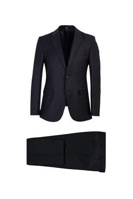 Erkek Giyim - SİYAH LACİVERT 48 Beden Slim Fit Yünlü Takım Elbise