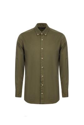 Erkek Giyim - HAKİ L Beden Uzun Kol Kuşgözü Gömlek