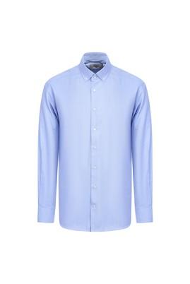 Erkek Giyim - MAVİ L Beden Uzun Kol Slim Fit Oxford Gömlek