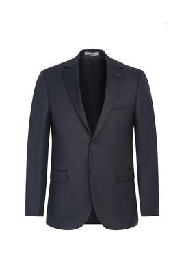 Erkek Giyim - KOYU ANTRASİT 48 Beden Slim Fit Balık Sırtı Ceket