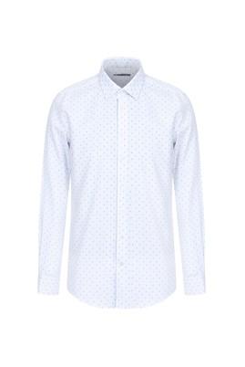 Erkek Giyim - BEYAZ M Beden Uzun Kol Slim Fit Desenli Gömlek