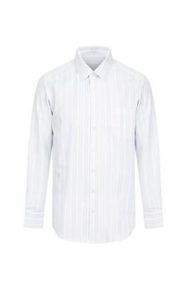 Erkek Giyim - ORTA LACİVERT L Beden Uzun Kol Çizgili Klasik Gömlek